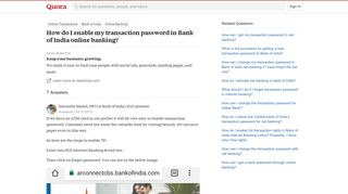 How to enable my transaction password in Bank of India online ...