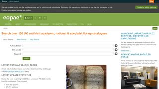 Copac National, Academic and Specialist Library Catalogue