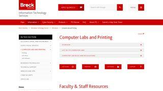 Computer Labs and Printing – Information ... - Brock University