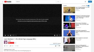 Learn Numbers 1 - 20 in British Sign Language (BSL) - YouTube