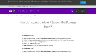 How do I access the Event Log on the Business Hubs? | BT Business