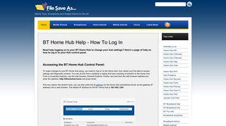 BT Home Hub Help - How To Log In - FileSaveAs