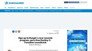 Sign up to Bungie's new rewards program, get a free Destiny 2 ...