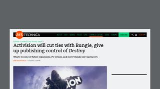 Activision will cut ties with Bungie, give up publishing control of ...