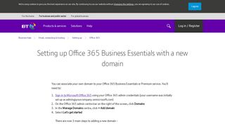 Setting up Office 365 Business Essentials with a new domain   BT ...