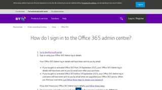 How do I log in to the Office 365 admin centre?   BT Business