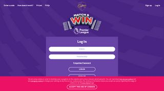 Log in - Cadbury Match & Win Competition |