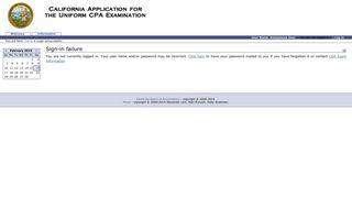 California Application for the CPA Examination - Login unsuccessful