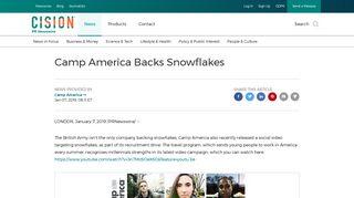 Camp America Backs Snowflakes - PR Newswire