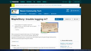 MapleStory: trouble logging in? | Nexon CommunityTech Wiki ...