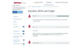 Quicken 2016 can't login | Quicken Customer Community - Get ...