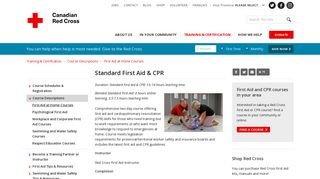 Standard First Aid & CPR - Canadian Red Cross