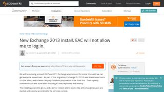 [SOLVED] New Exchange 2013 install. EAC will not allow me to log ...