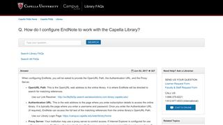How do I configure EndNote to work with the Capella Library ...