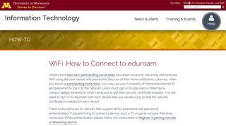 WiFi: How to Connect to eduroam   <span class=