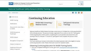 Continuing Education | NHSN | CDC