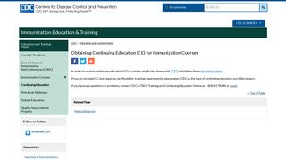 Obtaining CE Credit for Immunization Courses | CDC