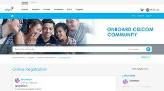 Online Registration - Celcom Community