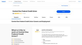 Central One Federal Credit Union Careers and Employment | Indeed ...