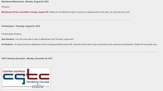 Central Georgia Technical College Online > Announcements - GVTC
