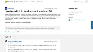How to switch to local account windows 10 - Microsoft Community