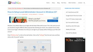 How to Setup Local Administrator Account in Windows 10? » WebNots