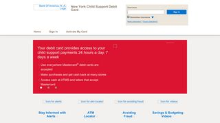 New York Child Support Debit Card - Home Page - Bank of America