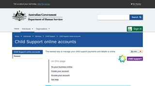 Child Support online accounts - Australian Government Department of ...