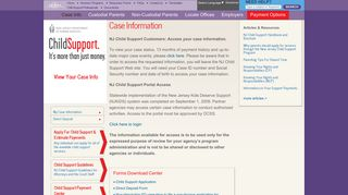 New Jersey Child Support   NJ Child Support   Case Information
