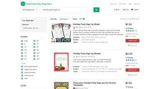 Holiday Party Sign Up Teaching Resources   Teachers Pay Teachers