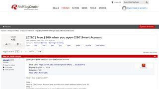 [CIBC] Free $300 when you open CIBC Smart Account - RedFlagDeals ...