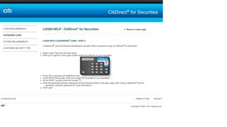 Login with a Safeword ® Card - CitiDirect® for Securities
