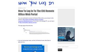 How To Log In To The Citi Remote Office Web Portal