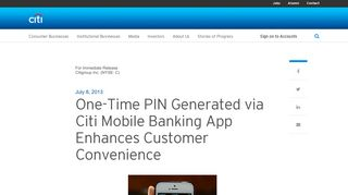 One-Time PIN Generated via Citi Mobile Banking App Enhances ...