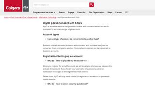 The City of Calgary - myID personal account FAQs