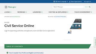 Civil Service Online   Mass.gov