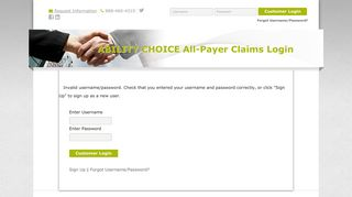 Login - ABILITY CHOICE All-Payer Claims - MDON-line