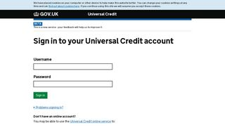 sign in to your universal credit account