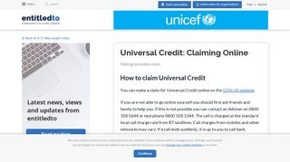 Universal Credit: Claiming Online - Entitledto