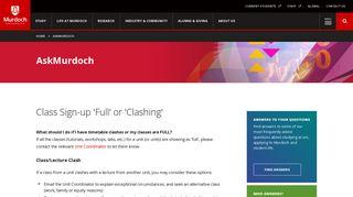 AskMurdoch | Class Sign-up 'Full' or 'Clashing'
