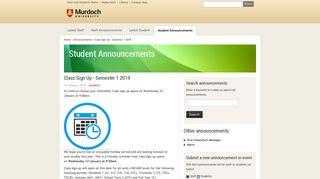Class Sign Up - Semester 1 2019 - Announcements - Murdoch ...
