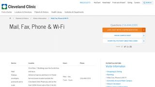 Mail, Fax, Phone & Wi-Fi - Cleveland Clinic