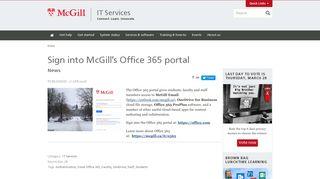 Sign into McGill's Office 365 portal | IT Services - McGill University