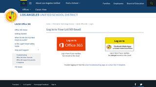 LAUSD Office 365 / Log In
