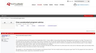 Cma accelerated program advice - RedFlagDeals.com Forums