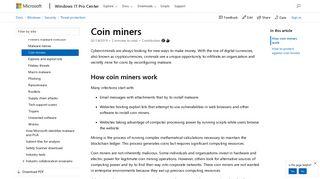 Coin miners | Microsoft Docs
