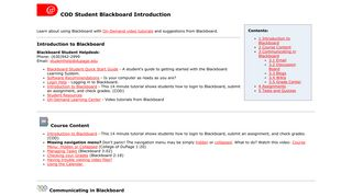 COD Student Blackboard Introduction - College of DuPage