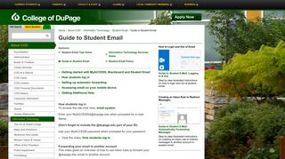 College of DuPage - Guide to Student Email