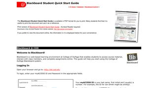 Blackboard Student Quick Start Guide - College of DuPage