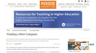 ACT drops popular Compass placement test, acknowledging its ...